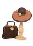 Ladies hat and bag ornament. Studio cutout Stock Images