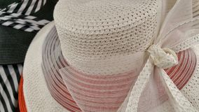 Ladies hat. Fancy woman& x27;s white hat with bow Royalty Free Stock Photo