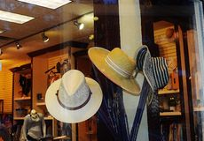 Ladies Hats in a Store Window Stock Photography