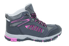 Ladies hiking waterproof shoes - Walking Tourist ankle boots Stock Images