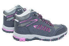 Ladies hiking waterproof shoes - Walking Tourist ankle boots Royalty Free Stock Photography