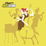 Ladies Jazz Orchestra. Four flapper girls playing music. Vector Illustration vector illustration