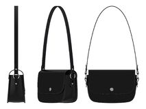 Ladies leather black bag with shoulder strap   Royalty Free Stock Photos
