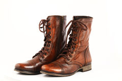 Ladies leather boots. Isolated on a white background Royalty Free Stock Photo