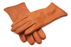 Ladies leather gloves. Brown ladies leather gloves isolated on white background Royalty Free Stock Image