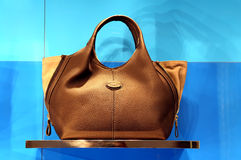 Ladies leather handbag. Elegant leather handbag for ladies for sale Royalty Free Stock Photo
