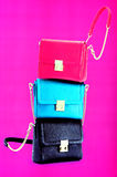 Ladies leather handbags. Authentic and luxurious leather handbags for women Stock Photography