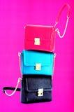 Ladies leather handbags stock photography