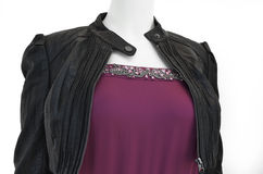 Ladies leather jacket over evening wear Royalty Free Stock Photos