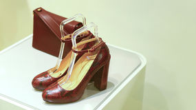Ladies leather shoes and handbag royalty free stock photography