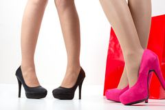Ladies leg , shoes , and shopping bag Royalty Free Stock Image