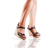Ladies legs in fashion shoes Stock Photos