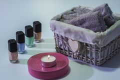 Tricks for nails and hand dryer. Ladies love bodycare, tricks for nails and relax in bathroom royalty free stock photography