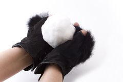 Ladies luxury black gloves Stock Photography