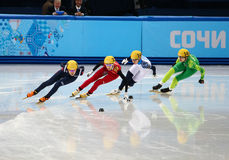 Ladies' 1000 m Heats Short Track Heats. Sochi, RUSSIA - February 18, 2014: Alang KIM (KOR) No.136 at Ladies' 1000 m Short Track Heats at the Sochi 2014 Olympic Stock Photography