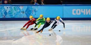 Ladies' 1000 m Heats Short Track Heats. Sochi, RUSSIA - February 18, 2014: Alang KIM (KOR) No.136 at Ladies' 1000 m Short Track Heats at the Sochi 2014 Olympic Royalty Free Stock Photo