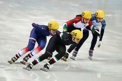 Ladies' 1000 m Heats Short Track Heats. Sochi, RUSSIA - February 18, 2014: Arianna FONTANA (ITA) No.124 at Ladies' 1000 m Short Track Heats at the Sochi 2014 Stock Photo