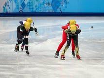 Ladies' 1000 m Heats Short Track Heats. Sochi, RUSSIA - February 18, 2014: Ayuko ITO (JPN) No.129 at Ladies' 1000 m Short Track Heats at the Sochi 2014 Olympic Royalty Free Stock Photography