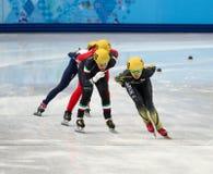 Ladies' 1000 m Heats Short Track Heats. Sochi, RUSSIA - February 18, 2014: Ayuko ITO (JPN) No.129 at Ladies' 1000 m Short Track Heats at the Sochi 2014 Olympic Stock Photo