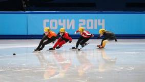 Ladies' 1000 m Heats Short Track Heats. Sochi, RUSSIA - February 18, 2014: Deanna LOCKETT (AUS) No.101 at Ladies' 1000 m Short Track Heats at the Sochi 2014 Stock Photography