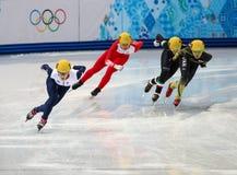 Ladies' 1000 m Heats Short Track Heats. Sochi, RUSSIA - February 18, 2014: Elise CHRISTIE (GBR) No.116 at Ladies' 1000 m Short Track Heats at the Sochi 2014 Royalty Free Stock Images