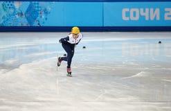 Ladies' 1000 m Heats Short Track Heats. Sochi, RUSSIA - February 18, 2014: Elise CHRISTIE (GBR) No.116 at Ladies' 1000 m Short Track Heats at the Sochi 2014 Royalty Free Stock Image