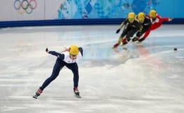 Ladies' 1000 m Heats Short Track Heats. Sochi, RUSSIA - February 18, 2014: Elise CHRISTIE (GBR) No.116 at Ladies' 1000 m Short Track Heats at the Sochi 2014 Stock Photography