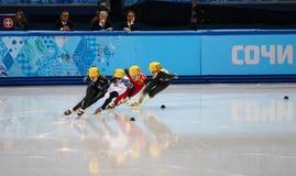 Ladies' 1000 m Heats Short Track Heats. Sochi, RUSSIA - February 18, 2014: Jessica SMITH (USA) No.156 at Ladies' 1000 m Short Track Heats at the Sochi 2014 Royalty Free Stock Photography