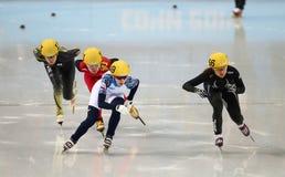 Ladies' 1000 m Heats Short Track Heats. Sochi, RUSSIA - February 18, 2014: Jessica SMITH (USA) No.156 at Ladies' 1000 m Short Track Heats at the Sochi 2014 Stock Image