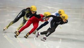 Ladies' 1000 m Heats Short Track Heats. Sochi, RUSSIA - February 18, 2014: Jessica SMITH (USA) No.156 at Ladies' 1000 m Short Track Heats at the Sochi 2014 Stock Photos