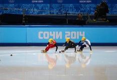 Ladies' 1000 m Heats Short Track Heats. Sochi, RUSSIA - February 18, 2014: Jianrou LI (CHN) No.111 at Ladies' 1000 m Short Track Heats at the Sochi 2014 Olympic Royalty Free Stock Photo