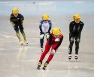 Ladies' 1000 m Heats Short Track Heats. Sochi, RUSSIA - February 18, 2014: Jianrou LI (CHN) No.111 at Ladies' 1000 m Short Track Heats at the Sochi 2014 Olympic Royalty Free Stock Images