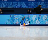 Ladies' 1000 m Heats Short Track Heats. Sochi, RUSSIA - February 18, 2014: Katerina NOVOTNA (CZE) No.114 at Ladies' 1000 m Short Track Heats at the Sochi 2014 Royalty Free Stock Images