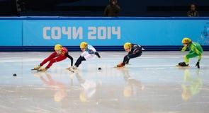 Ladies' 1000 m Heats Short Track Heats. Sochi, RUSSIA - February 18, 2014: Kexin FAN (CHN) No.109 at Ladies' 1000 m Short Track Heats at the Sochi 2014 Olympic Stock Image