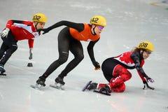 Ladies' 1000 m Heats Short Track Heats. Sochi, RUSSIA - February 18, 2014: Marianne ST-GELAIS (CAN) No.108 at Ladies' 1000 m Short Track Heats at the Sochi 2014 Stock Image