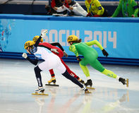Ladies' 1000 m Heats Short Track Heats. Sochi, RUSSIA - February 18, 2014: Olga BELYAKOVA (RUS) No.148 at Ladies' 1000 m Short Track Heats at the Sochi 2014 Royalty Free Stock Photos