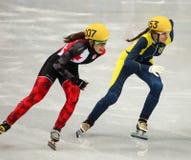 Ladies' 1000 m Heats Short Track Heats. Sochi, RUSSIA - February 18, 2014: Safiya VLASOVA (UKR) No.153 at Ladies' 1000 m Short Track Heats at the Sochi 2014 Stock Photos