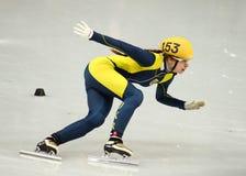 Ladies' 1000 m Heats Short Track Heats. Sochi, RUSSIA - February 18, 2014: Safiya VLASOVA (UKR) No.153 at Ladies' 1000 m Short Track Heats at the Sochi 2014 Royalty Free Stock Photos