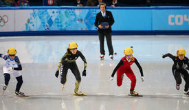 Ladies' 1000 m Heats Short Track Heats. Sochi, RUSSIA - February 18, 2014: Sayuri SHIMIZU (JPN) No.133 at Ladies' 1000 m Short Track Heats at the Sochi 2014 Royalty Free Stock Photography