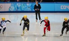 Ladies' 1000 m Heats Short Track Heats. Sochi, RUSSIA - February 18, 2014: Sayuri SHIMIZU (JPN) No.133 at Ladies' 1000 m Short Track Heats at the Sochi 2014 Stock Photo