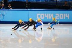 Ladies' 1000 m Heats Short Track Heats. Sochi, RUSSIA - February 18, 2014: Seung-Hi PARK (KOR) No.138 at Ladies' 1000 m Short Track Heats at the Sochi 2014 Royalty Free Stock Photography