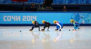 Ladies' 1000 m Heats Short Track Heats. Sochi, RUSSIA - February 18, 2014: Seung-Hi PARK (KOR) No.138 at Ladies' 1000 m Short Track Heats at the Sochi 2014 Royalty Free Stock Photos