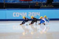 Ladies' 1000 m Heats Short Track Heats. Sochi, RUSSIA - February 18, 2014: Seung-Hi PARK (KOR) No.138 at Ladies' 1000 m Short Track Heats at the Sochi 2014 Stock Photo