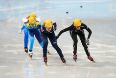 Ladies' 1000 m Heats Short Track Heats. Sochi, RUSSIA - February 18, 2014: Seung-Hi PARK (KOR) No.138 at Ladies' 1000 m Short Track Heats at the Sochi 2014 Royalty Free Stock Image