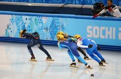 Ladies' 1000 m Heats Short Track Heats. Sochi, RUSSIA - February 18, 2014: Seung-Hi PARK (KOR) No.138 at Ladies' 1000 m Short Track Heats at the Sochi 2014 Stock Photos