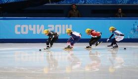 Ladies' 1000 m Heats Short Track Heats. Sochi, RUSSIA - February 18, 2014: Sofia PROSVIRNOVA (RUS) No.150 at Ladies' 1000 m Short Track Heats at the Sochi 2014 Royalty Free Stock Photos