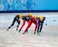 Ladies' 1000 m Heats Short Track Heats. Sochi, RUSSIA - February 18, 2014: Suk Hee SHIM (KOR) No.139 at Ladies' 1000 m Short Track Heats at the Sochi 2014 Stock Photos