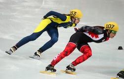 Ladies' 1000 m Heats Short Track Heats. Sochi, RUSSIA - February 18, 2014: Valerie MALTAIS (CAN) No.107 at Ladies' 1000 m Short Track Heats at the Sochi 2014 Stock Photos