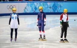 Ladies' 1000 m Heats Short Track Heats. Sochi, RUSSIA - February 18, 2014: Veronique PIERRON (FRA) No.115 at Ladies' 1000 m Short Track Heats at the Sochi 2014 Stock Photo
