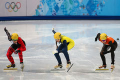 Ladies' 1000 m Heats Short Track Heats. Sochi, RUSSIA - February 18, 2014: Yara VAN KERKHOF (NED) No.144 at Ladies' 1000 m Short Track Heats at the Sochi 2014 Stock Photo